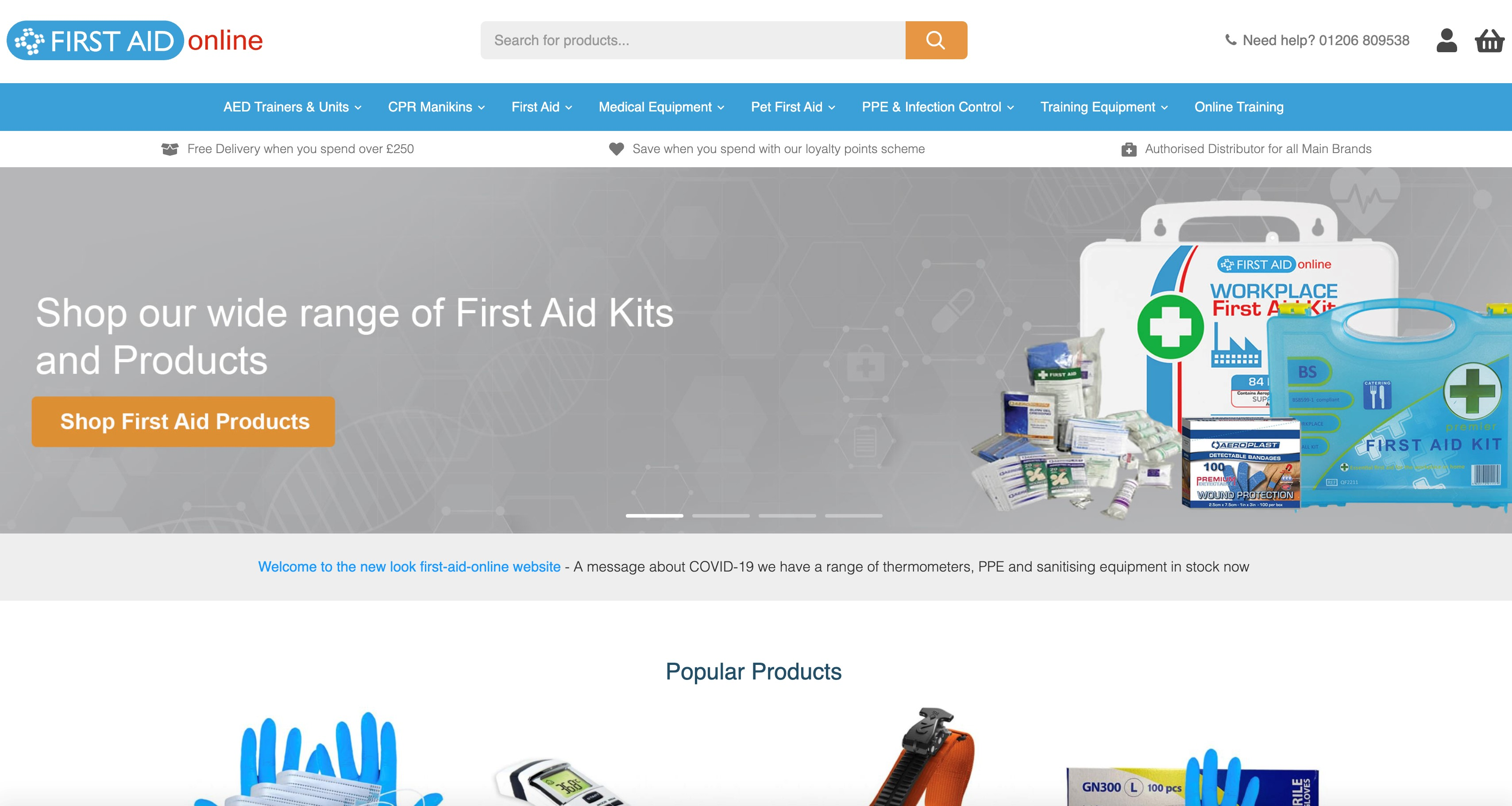 Screenshot of our new look first aid equipment website